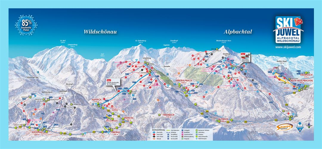 Large detailed piste map of Alpbachtal - Wildschoenau, Ski Juwel Ski Resort - 2018