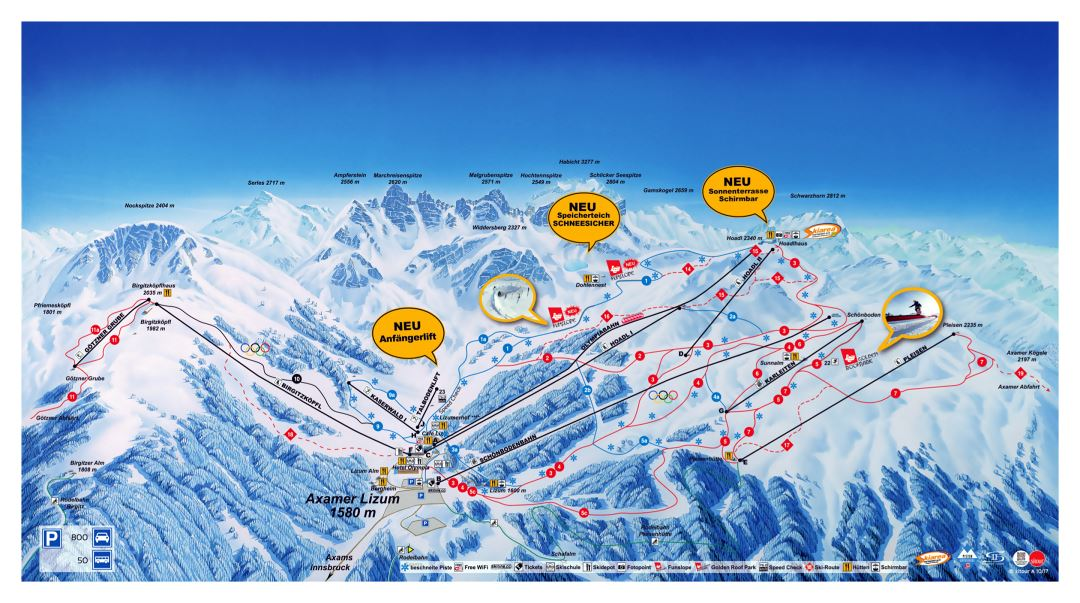 Large detailed piste map of Axamer Lizum, Innsbruck Ski Resort - 2018