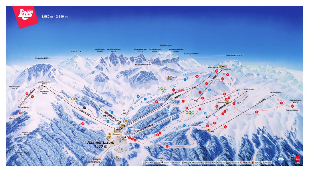 Large detailed piste map of Axamer Lizum, Innsbruck Ski Resort