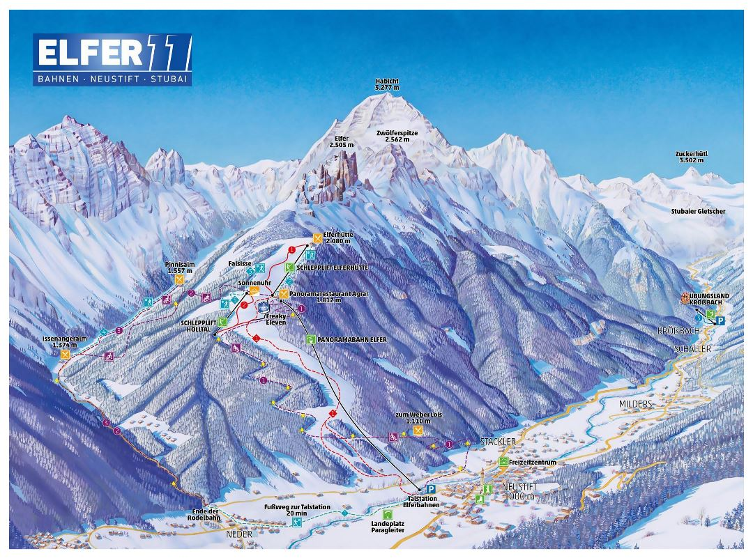 Large detailed piste map of Bahnen, Neustfit, Subai, Elfer Ski Resort
