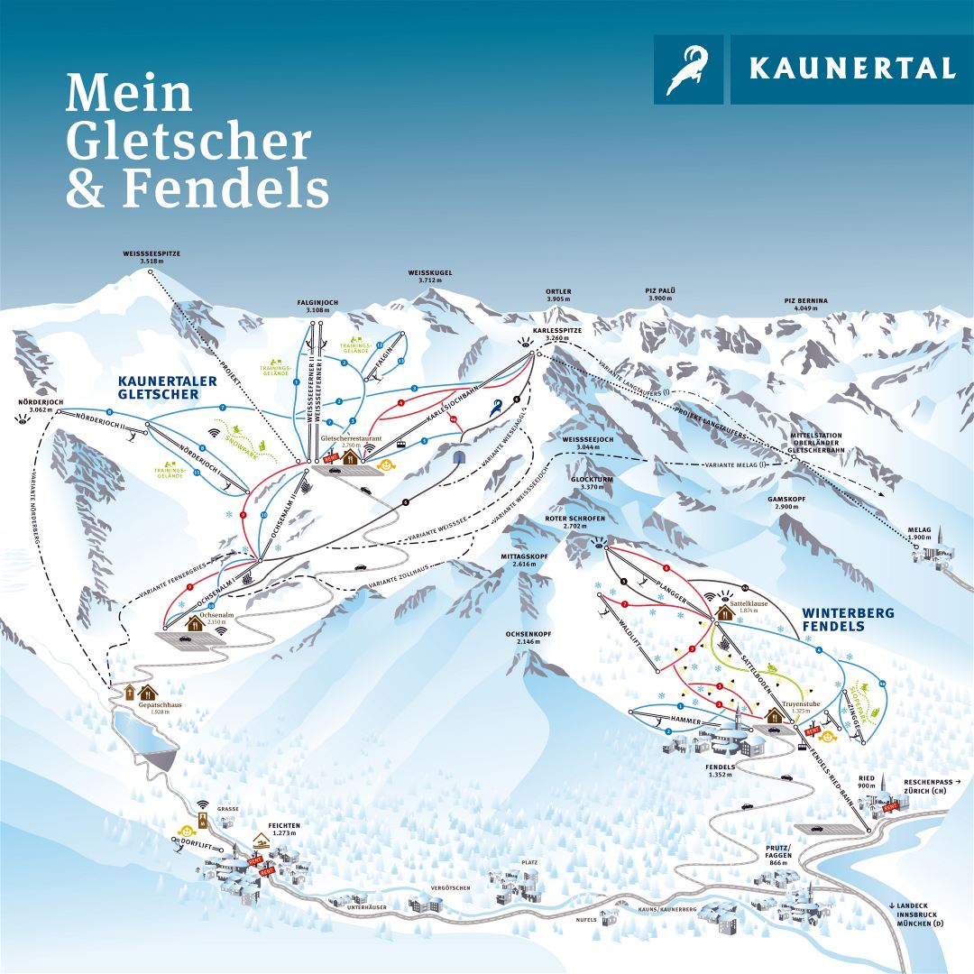 Large detailed piste map of Gletscher - Fendels, Kaunertal Ski Resort - 2016