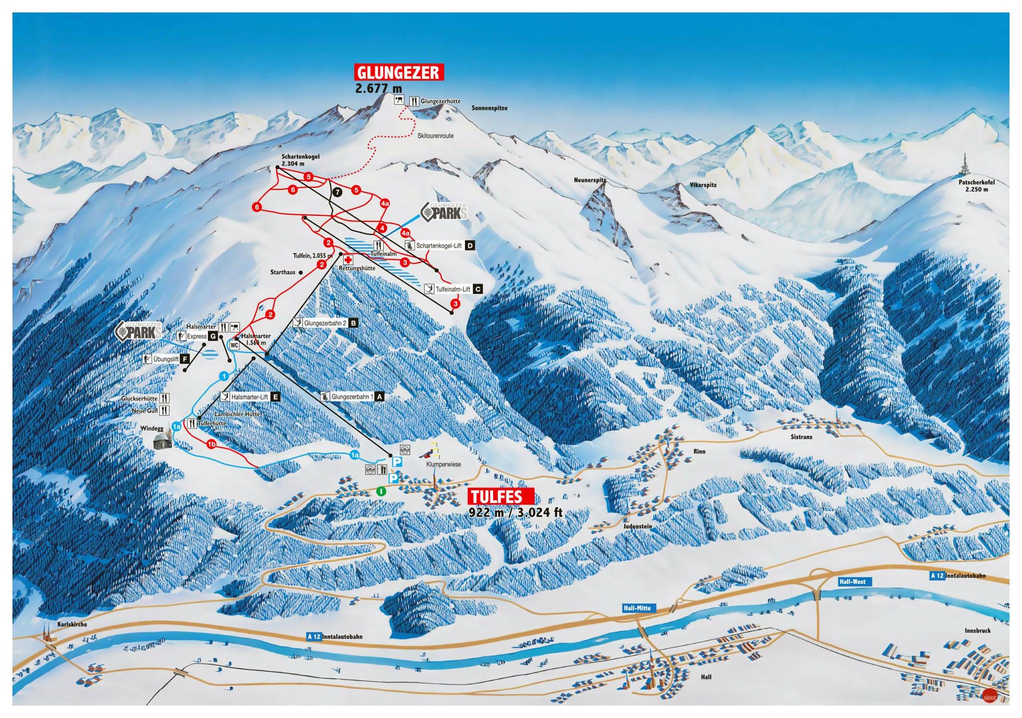 Large detailed piste map of Glungezer, Innsbruck Ski Resort | Tyrol ...