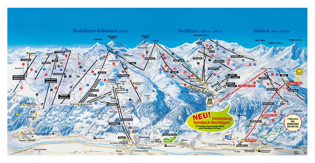 Large detailed piste map of Hochzillertal-Kaltenbach, Hochfugen, Spieljoch, Zillertal Valley Ski Resort - 2016