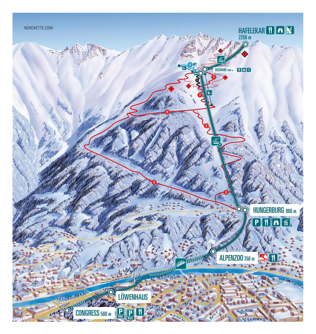 Large detailed piste map of Innsbrucker Nordkette, Innsbruck Ski ...