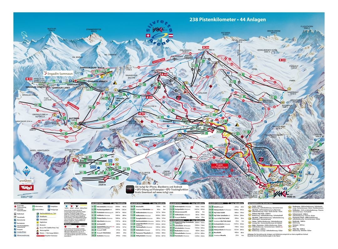 Large detailed piste map of Ischgl and Samnaun resorts, Silvretta Arena Ski Region - 2011