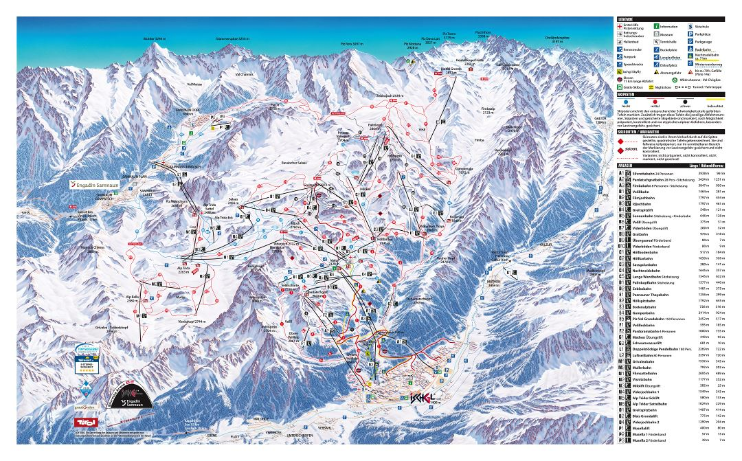 Large detailed piste map of Ischgl and Samnaun resorts, Silvretta Arena Ski Region - 2017