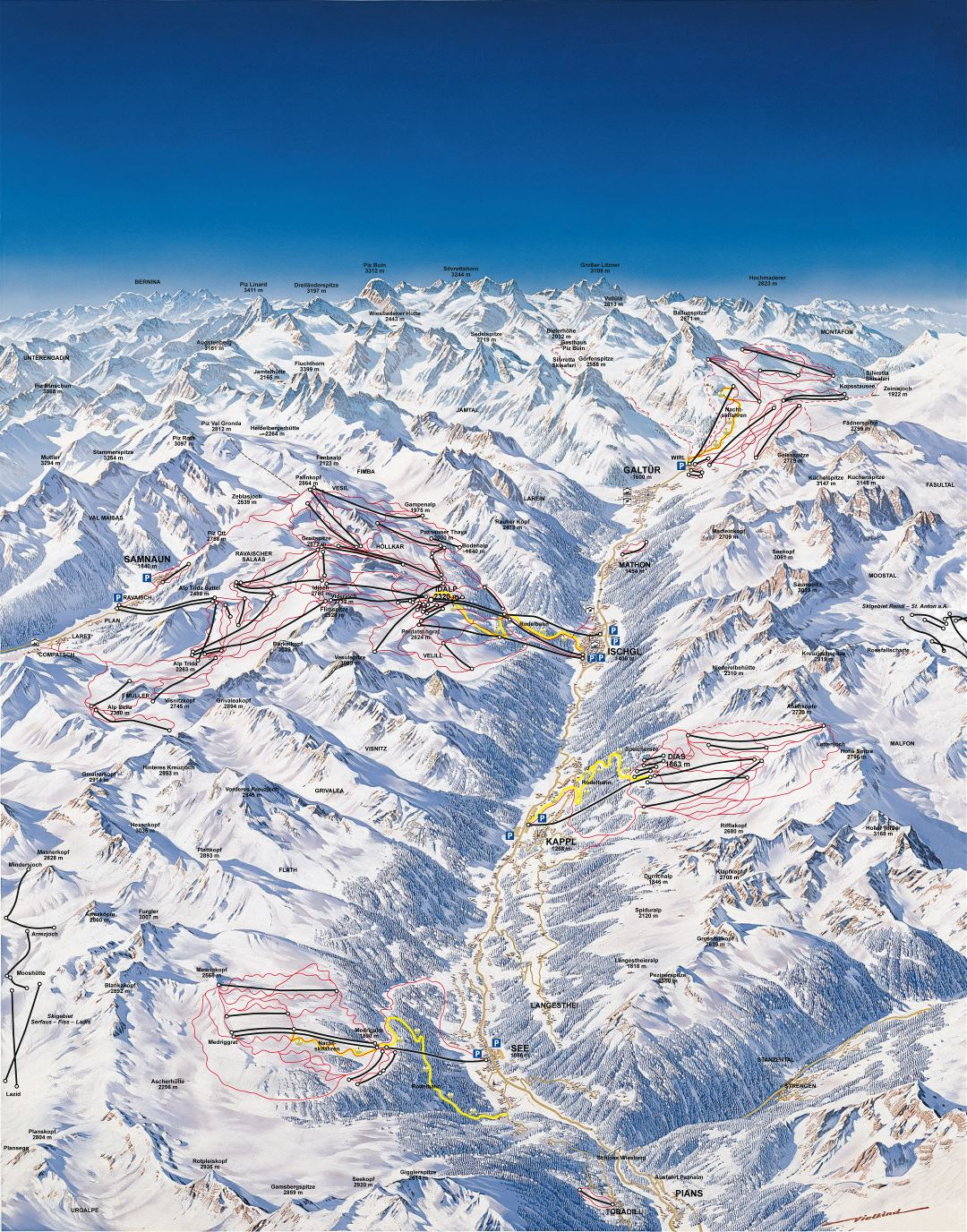 Large detailed piste map of Ischgl, Samnaun, Galtur, Kappl and See resorts, Silvretta Arena Ski Region - 2010