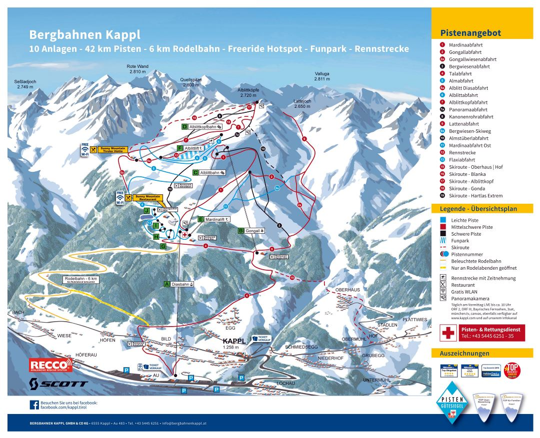 Large detailed piste map of Kappl resort, Silvretta Arena Ski Region - 2016