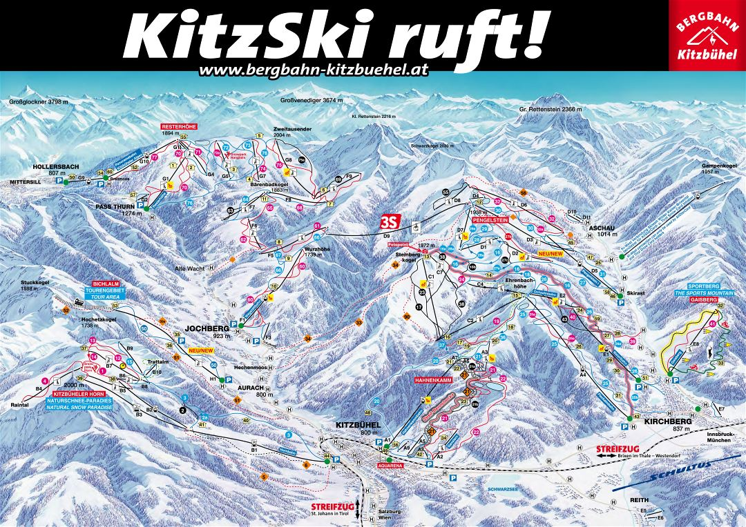 Large detailed piste map of Kitzbuhel, KitzSki, Kirchberg Ski Area - 2015
