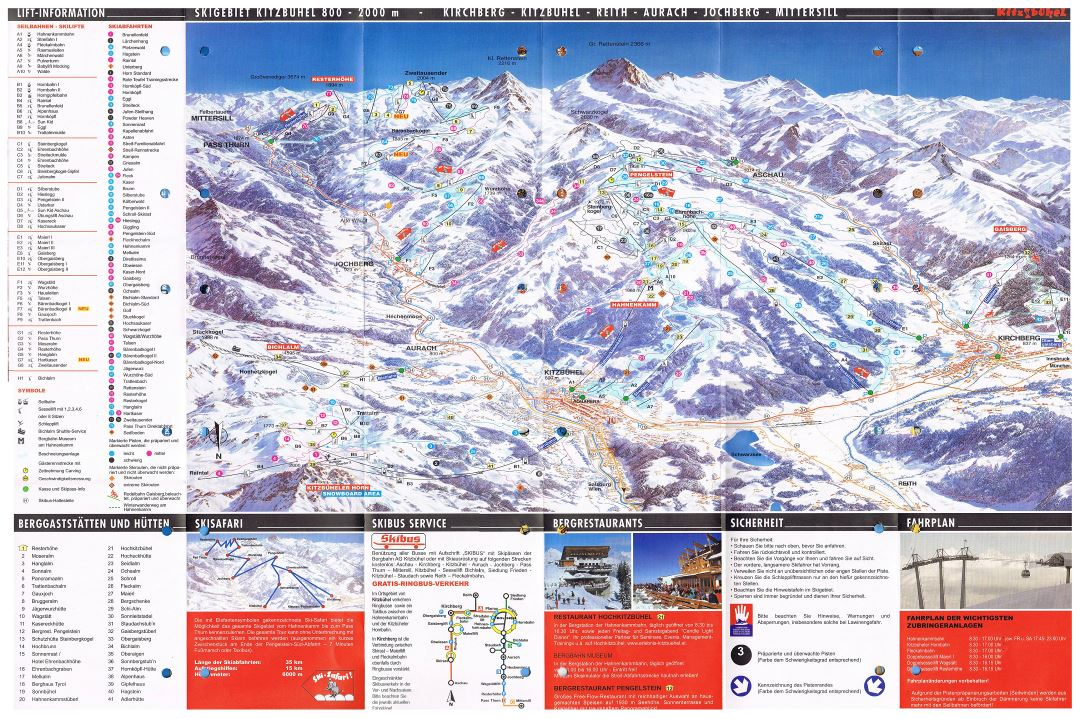 Large detailed piste map of Kitzbuhel Ski Area - 2003