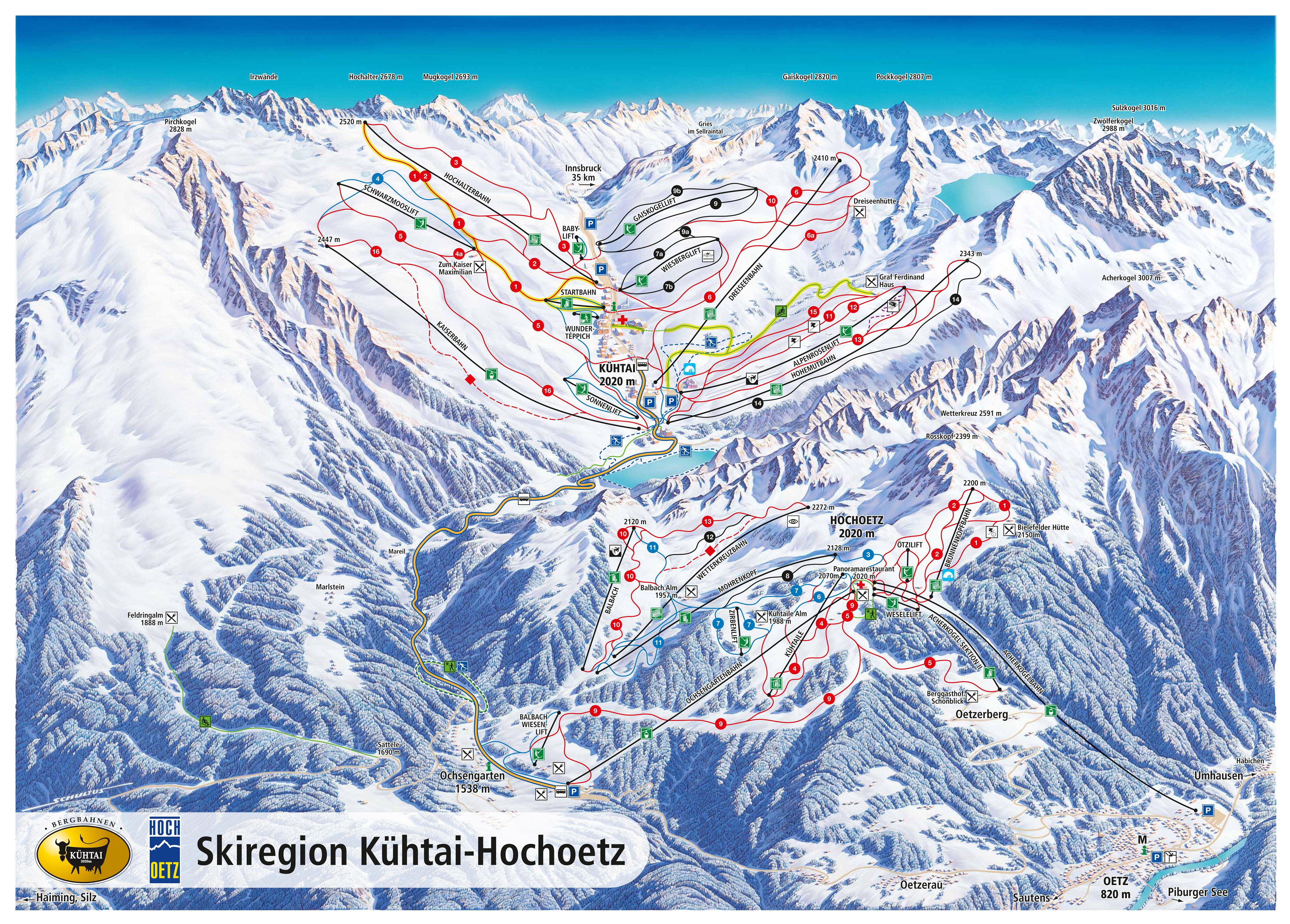Large detailed piste map of Kuhtai - Hochoetz, Innsbruck Ski Resort ...
