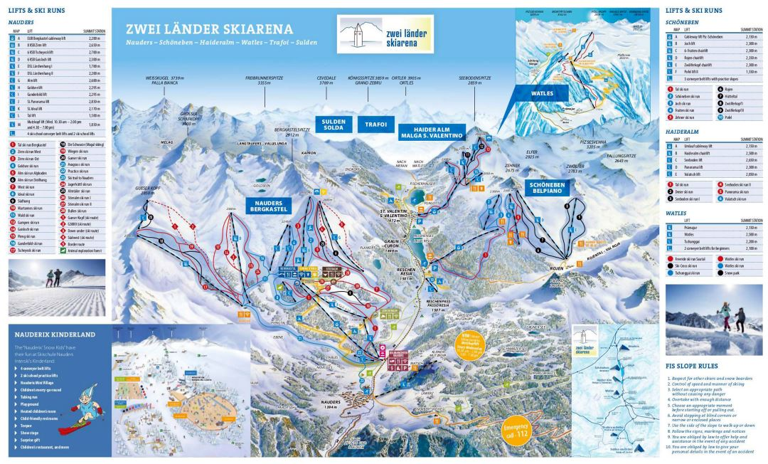 Large detailed piste map of Nauders - 2018