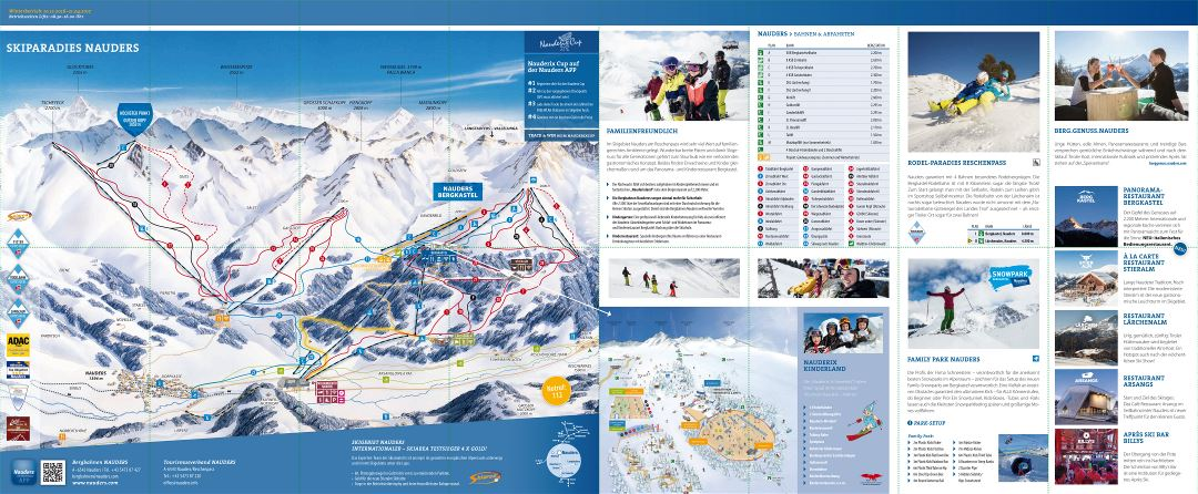 Large detailed piste map of Nauders Ski Resort - 2016