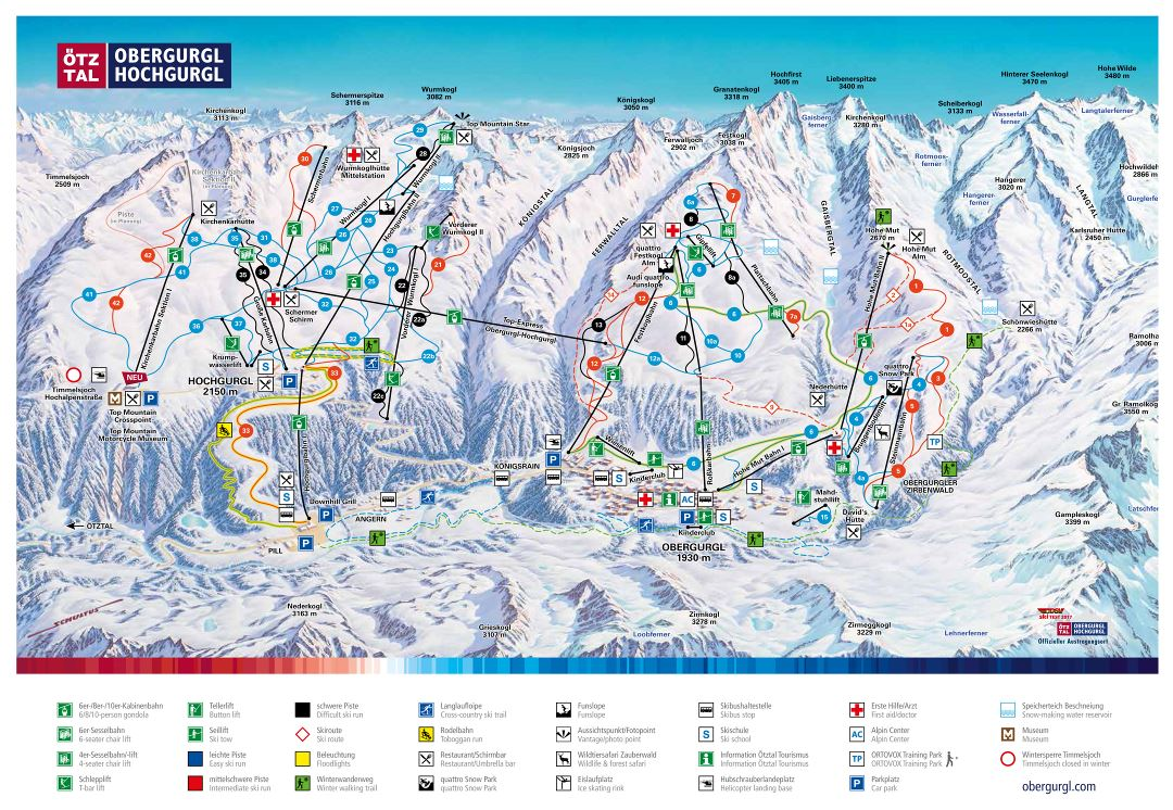Large detailed piste map of Obergurgl-Hochgurgl, Otztal Ski Resort - 2017