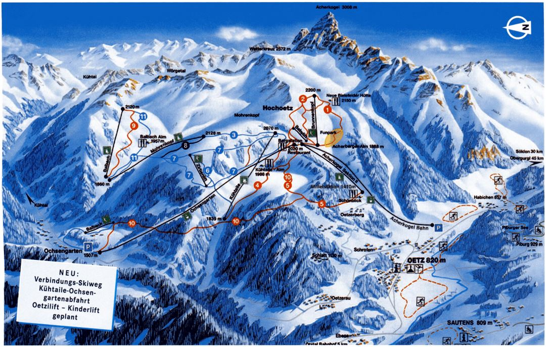 Large detailed piste map of Oetz Ski Area - 2002