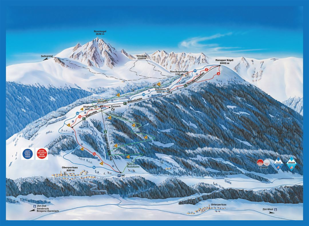 Large detailed piste map of Rangger Kopfl, Innsbruck Ski Resort