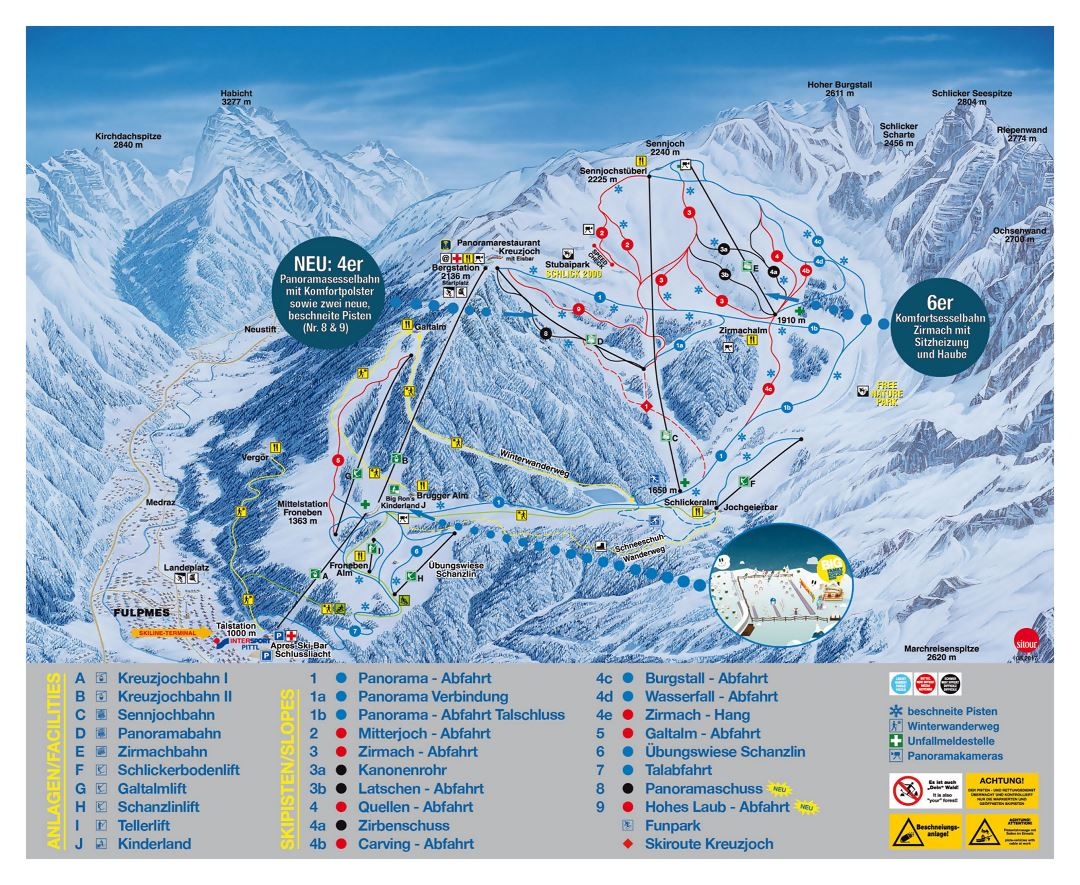 Large detailed piste map of Schlick 2000, Innsbruck Ski Resort - 2018