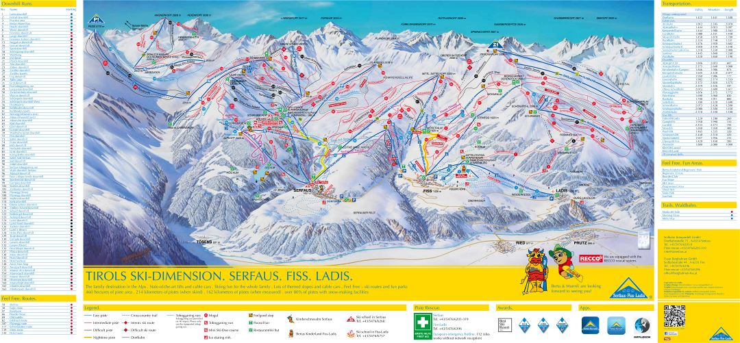 Large detailed piste map of Serfaus, Fiss, Ladis - Ski Dimension Ski Resort - 2018