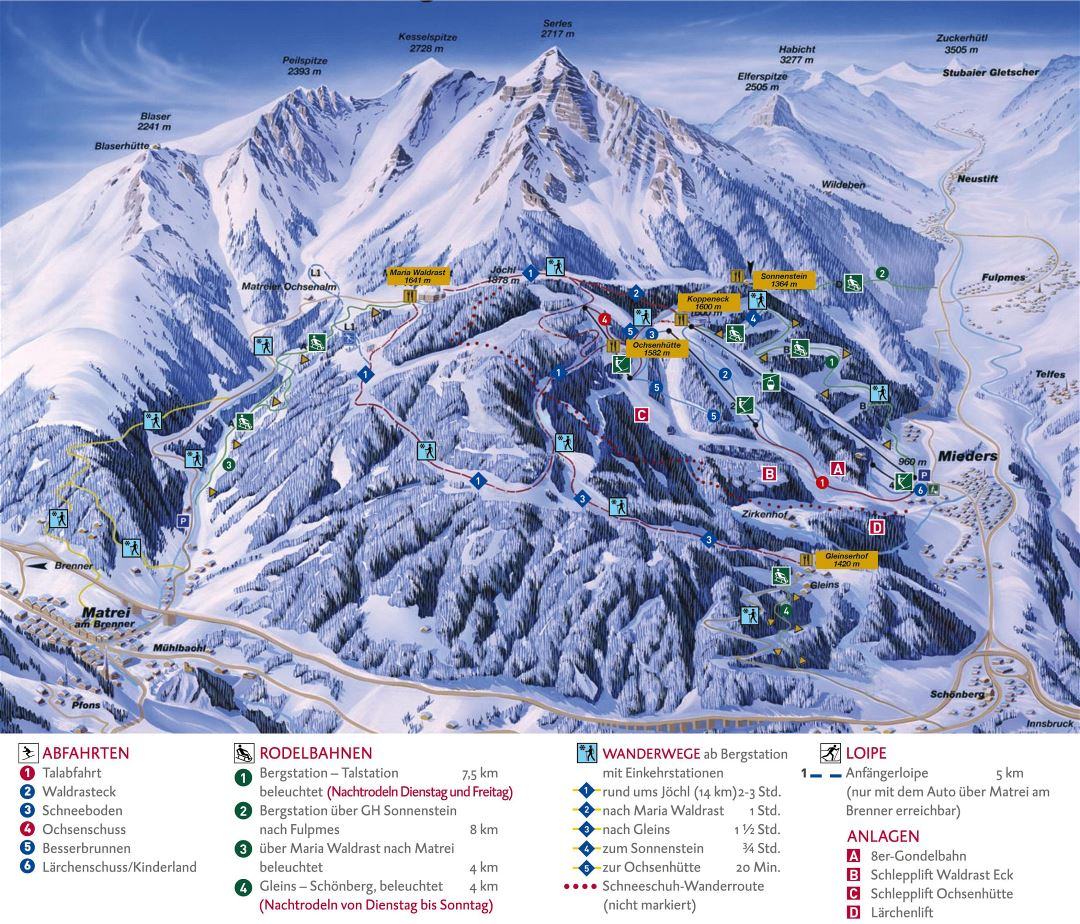 Large detailed piste map of Serles Ski Area - 2015