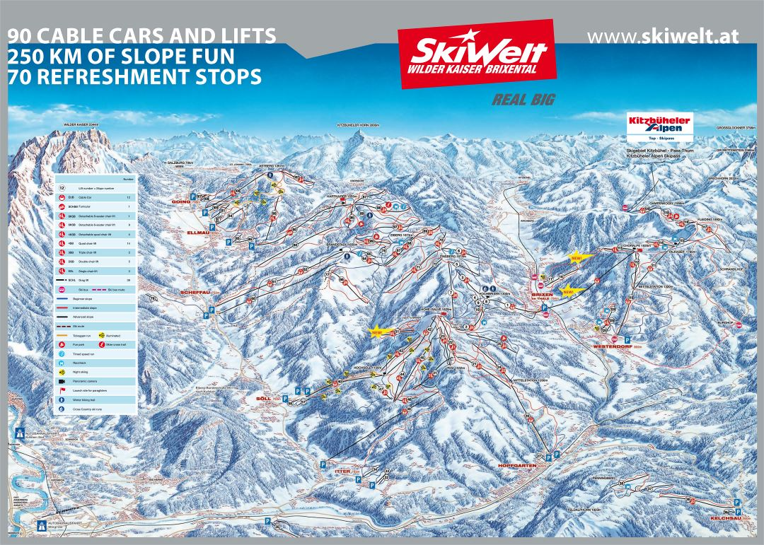 Large detailed piste map of SkiWelt Ski Resort - 2008