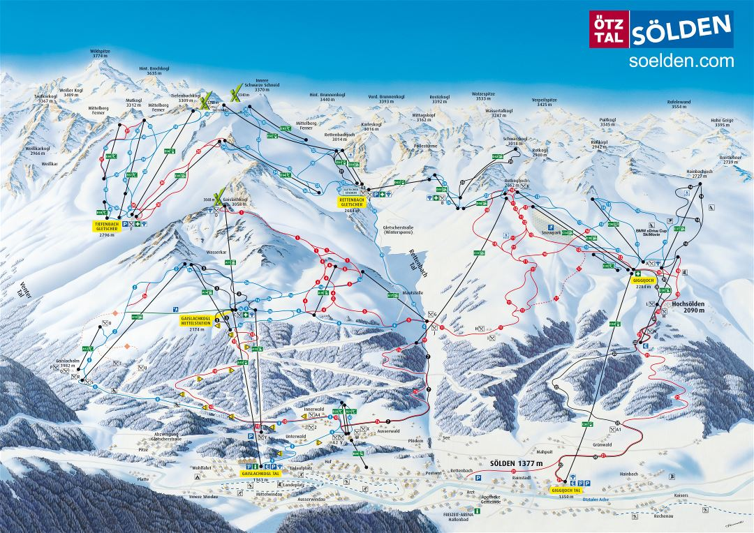 Large detailed piste map of Solden, Otztal Ski Resort - 2013