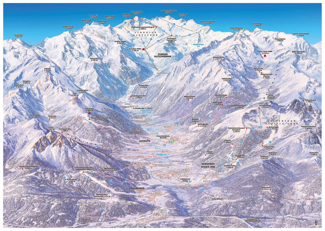 Large detailed piste map of Stubaital (Stubaier Gletscher) Ski Resort - 2015