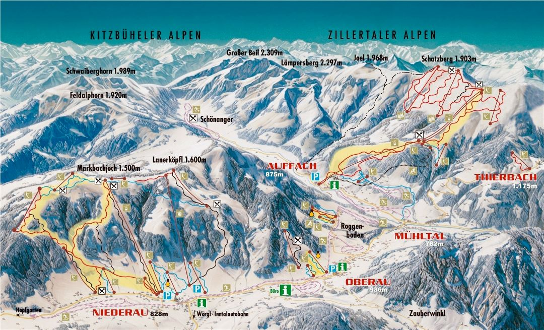 Large detailed piste map of Wildschonau - 2009