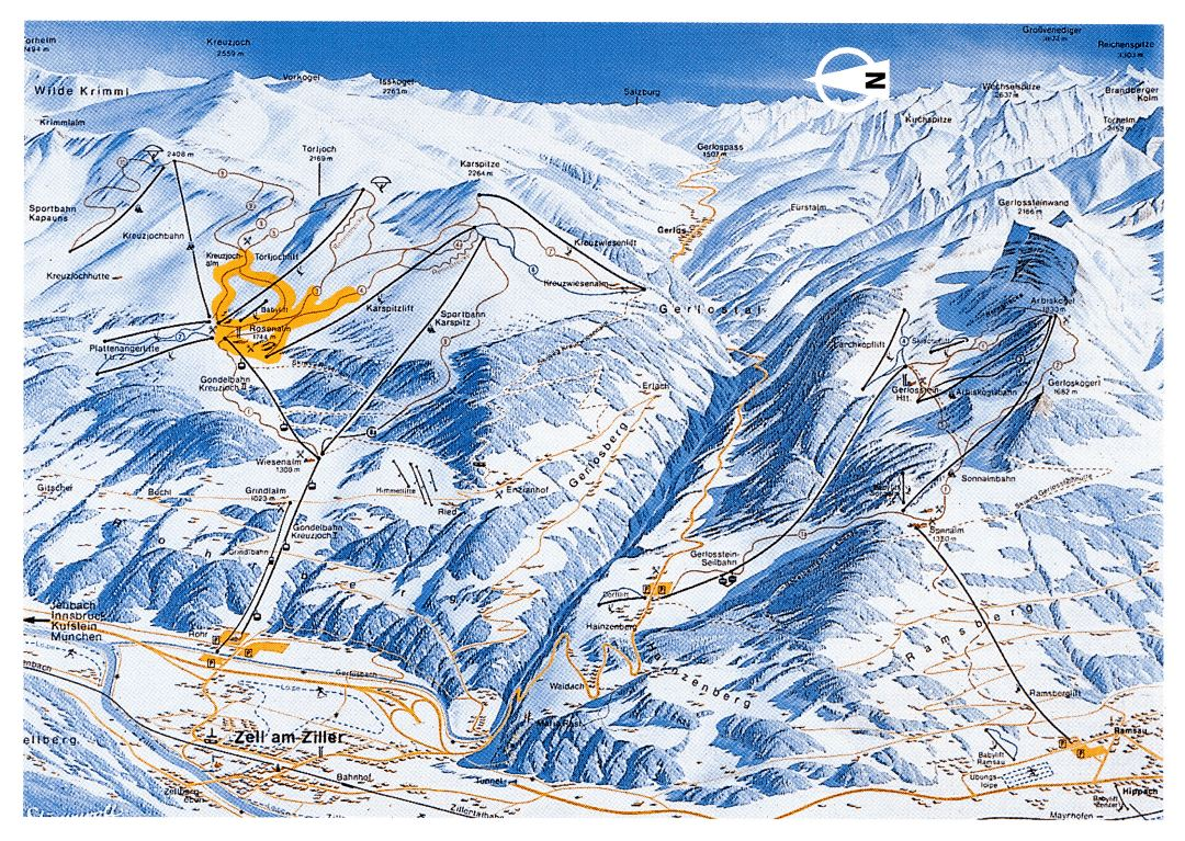 Large detailed piste map of Zell am Ziller ski area, Zillertal Valley - 1998