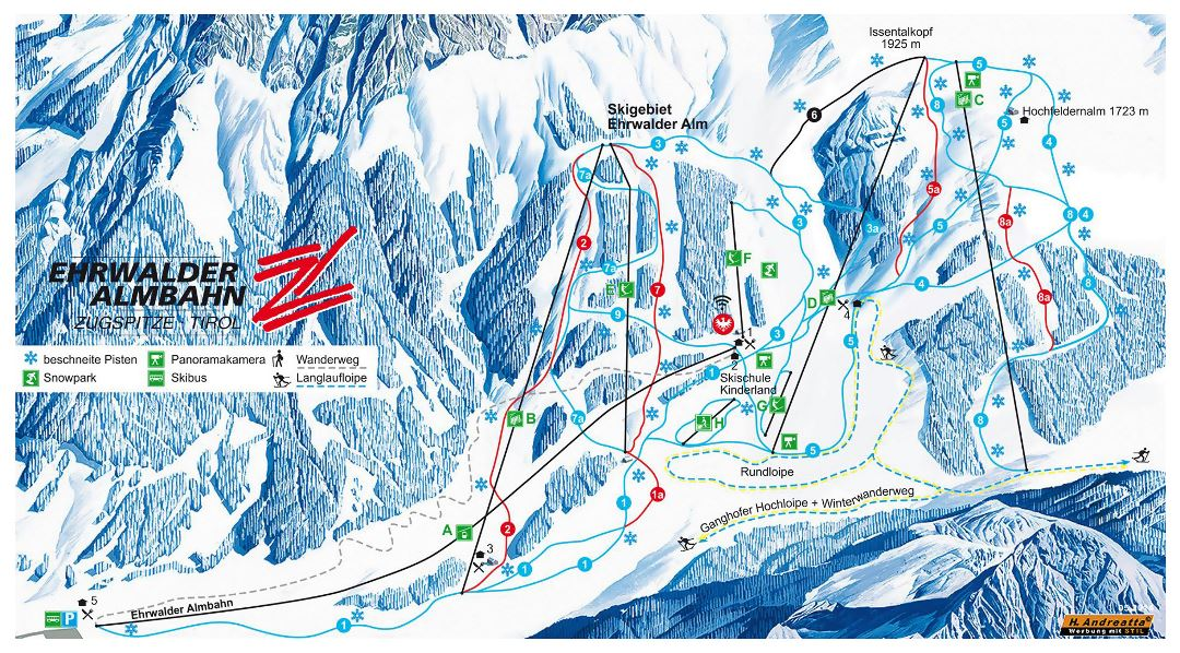 Large piste map of Ehrwald, Zugspitz Arena Ski Resort