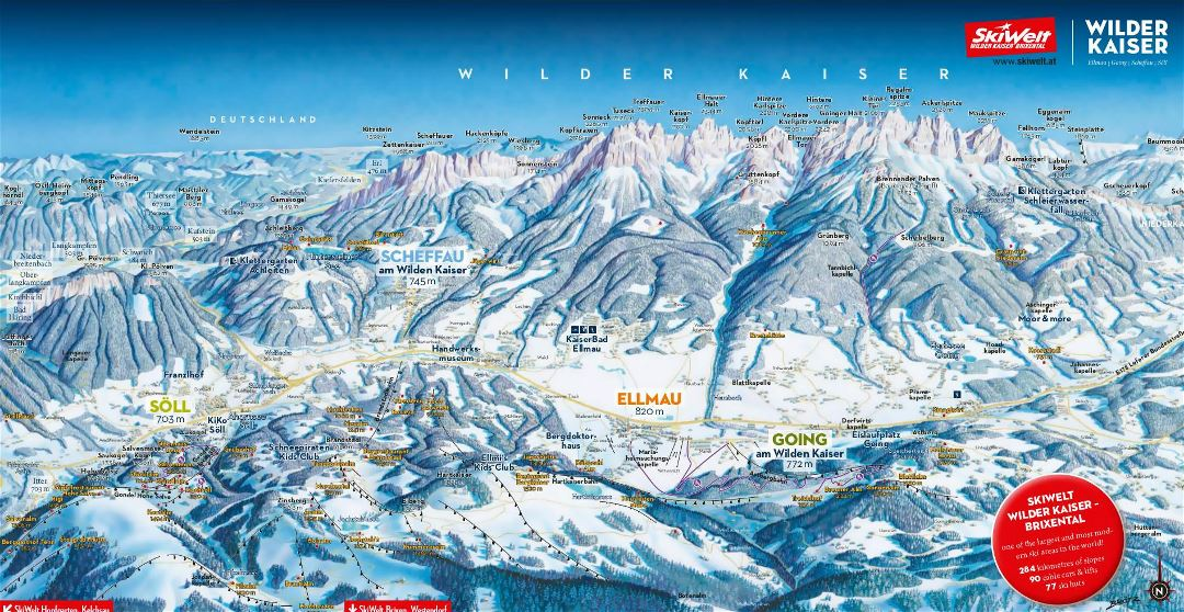Large piste map of Ellmau, Going, Scheffau, Soll (Wilder Kaiser) - SkiWelt Ski Resort - 2018