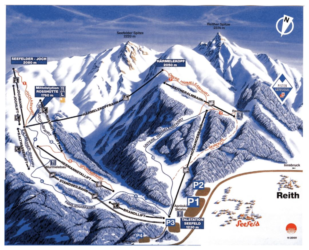 Large piste map of Seefeld, Reith Ski Resorts - 2001