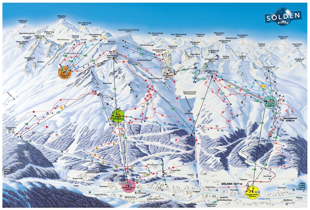 Large piste map of Solden Resort - 2002