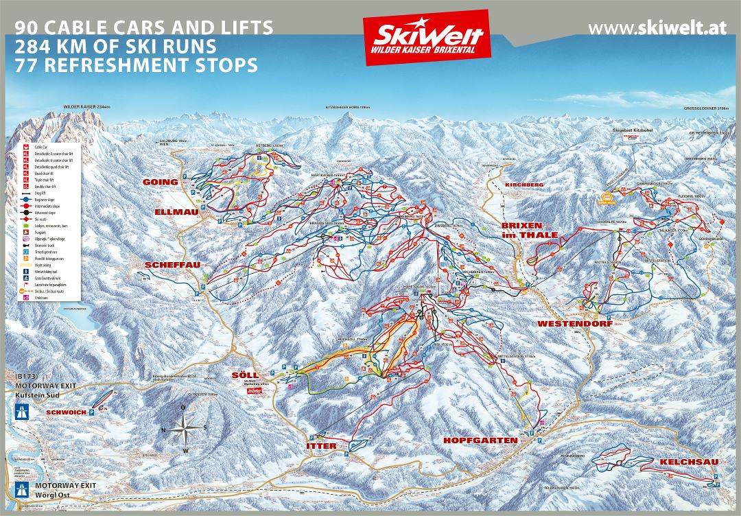 Large scale detailed piste map of SkiWelt Ski Resort - 2017
