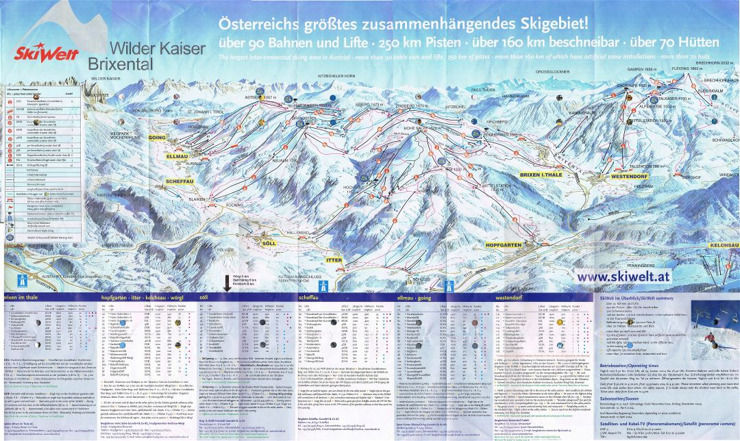 Large scale detailed piste map of SkiWelt Ski Resort area - 2004