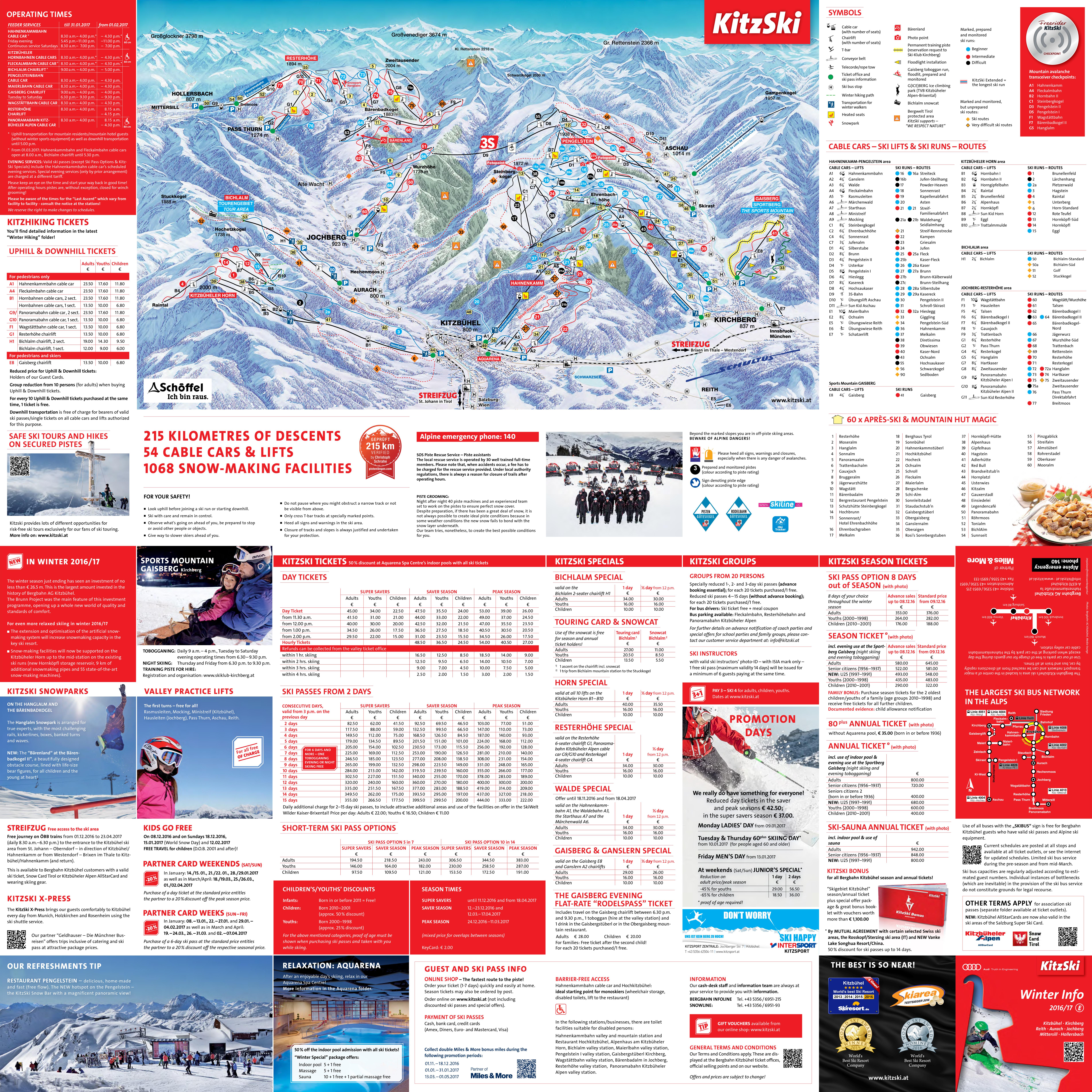 Large Scale Guide And Piste Map Of Kitzbuhel Kitzski Kirchberg Ski
