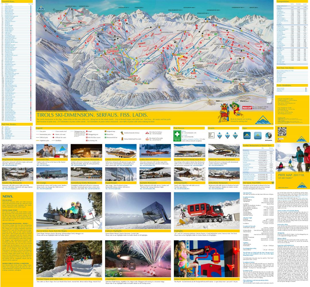 Large scale guide and piste map of Ski Dimension Ski Resort - 2018