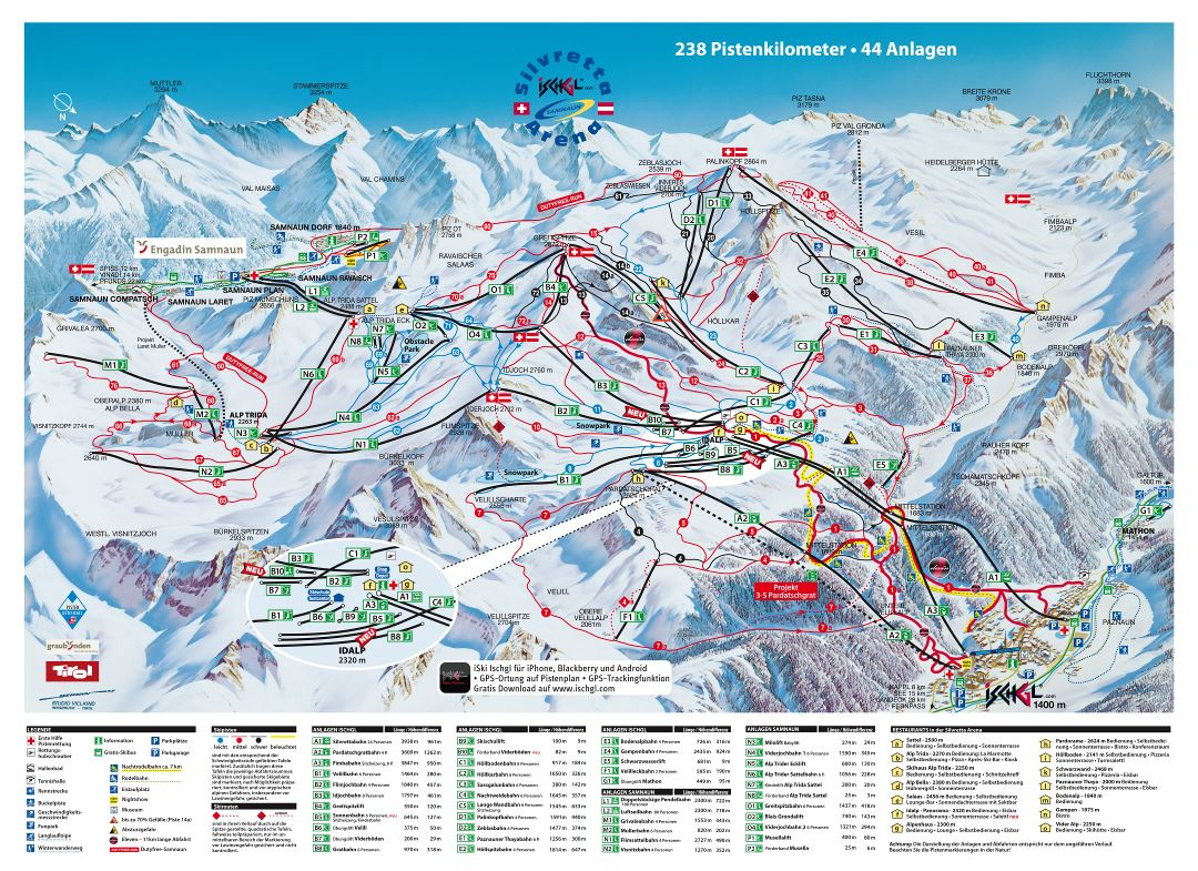 Large scale piste map of Ischgl and Samnaun resorts, Silvretta Arena Ski Region - 2011