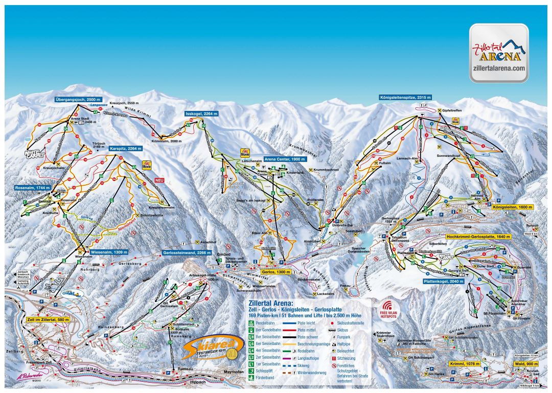 Large scale piste map of Zillertal Arena ski area, Zillertal Valley Ski Resort - 2012