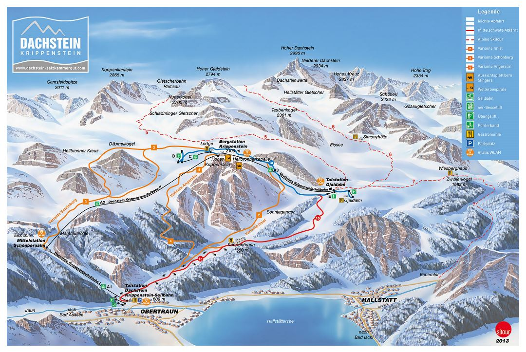 Detailed piste map of Dachstein-Krippenstein Ski Resort - 2013