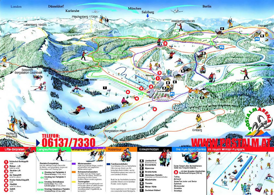 Detailed piste map of Postalm Ski Resort - 2008