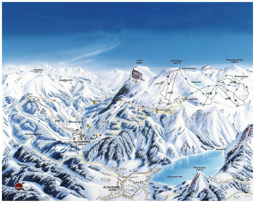 Large detailed piste map of Loser Ski Resort - 2009