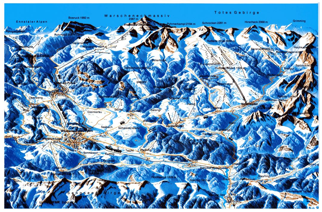 Large old piste map of Hinterstoder Ski Resort - 1985