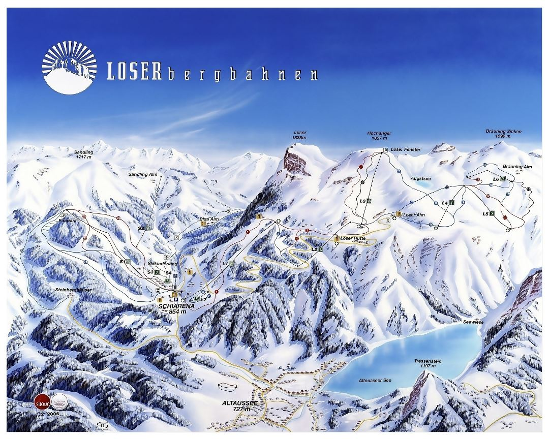 Large piste map of Loser Ski Resort - 2008