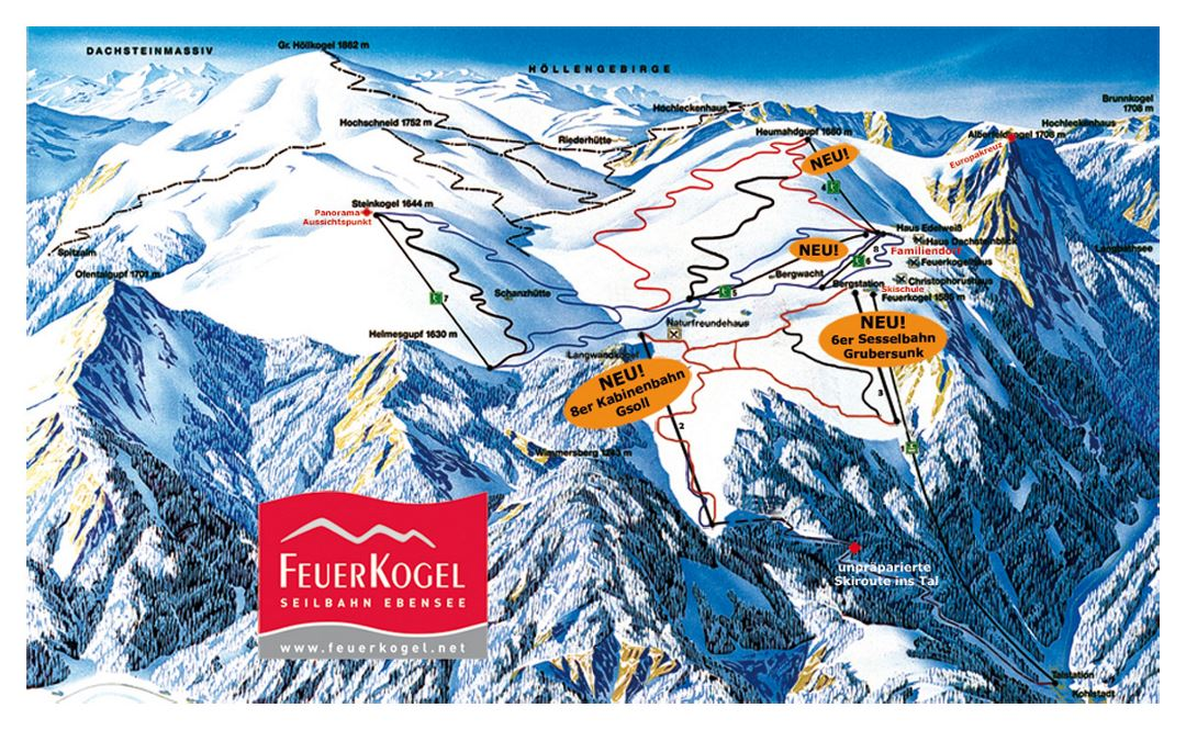 Piste map of Feuerkogel Ski Resort - 2009