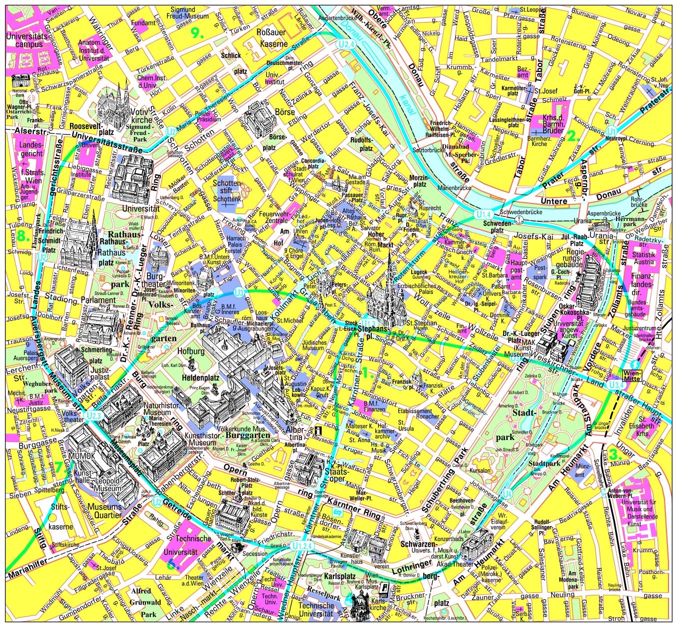 Detailed Tourist Map Of Vienna City Center Vienna Austria