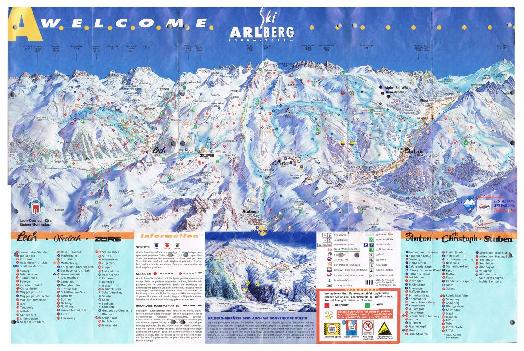 Large detailed piste map of Arlberg Ski Resort - 2004