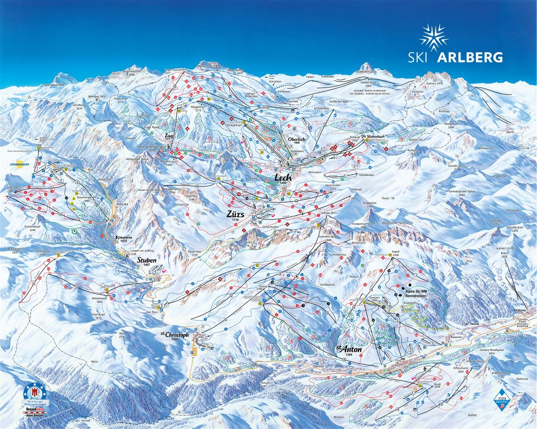 Large detailed piste map of Arlberg Ski Resort - 2012