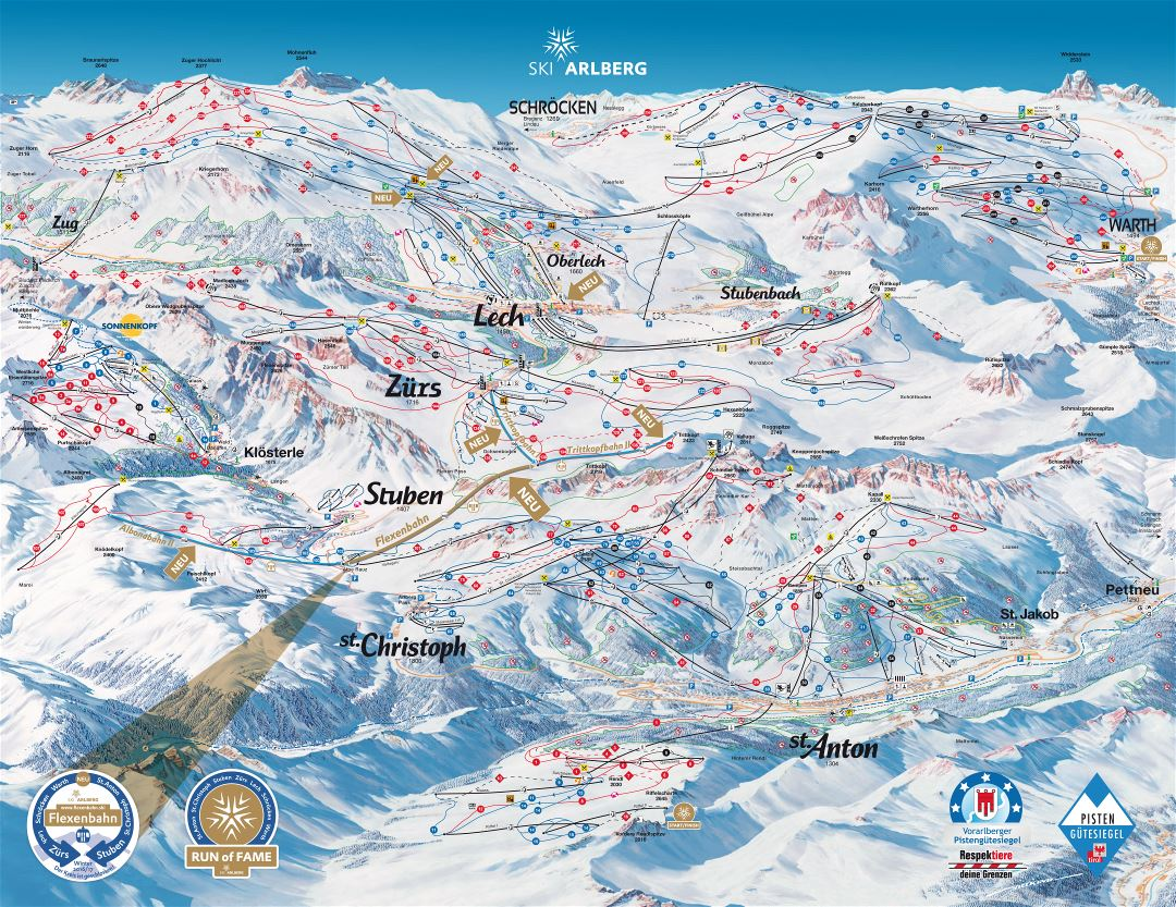 Large detailed piste map of Arlberg Ski Resort - 2016