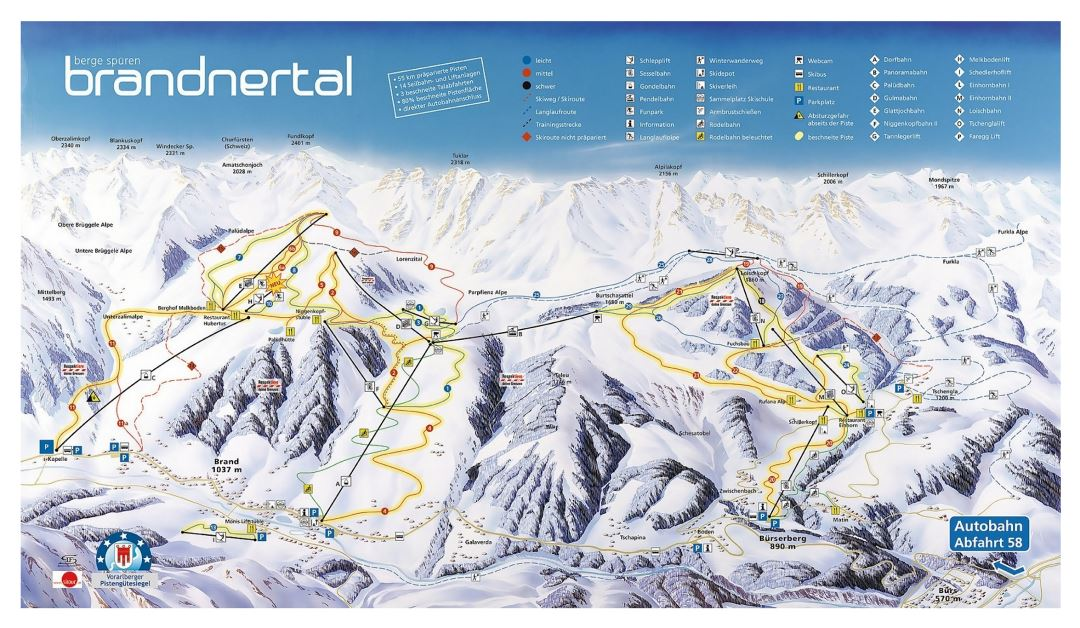 Large detailed piste map of Brandnertal