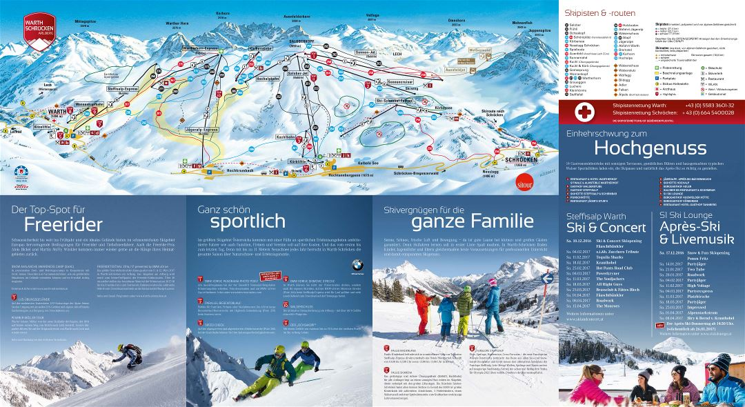 Large scale piste map of Warth Schroecken, Arlberg Ski Resort - 2016